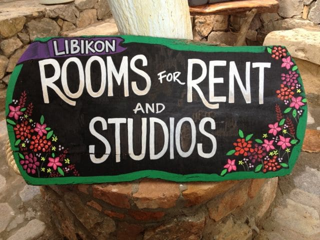 Chalkboard sign for a hotel.